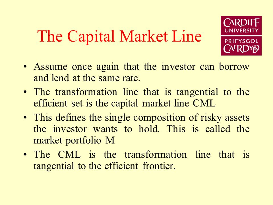 The Capital Market Line Assume once again that the investor can borrow and lend at the same rate.