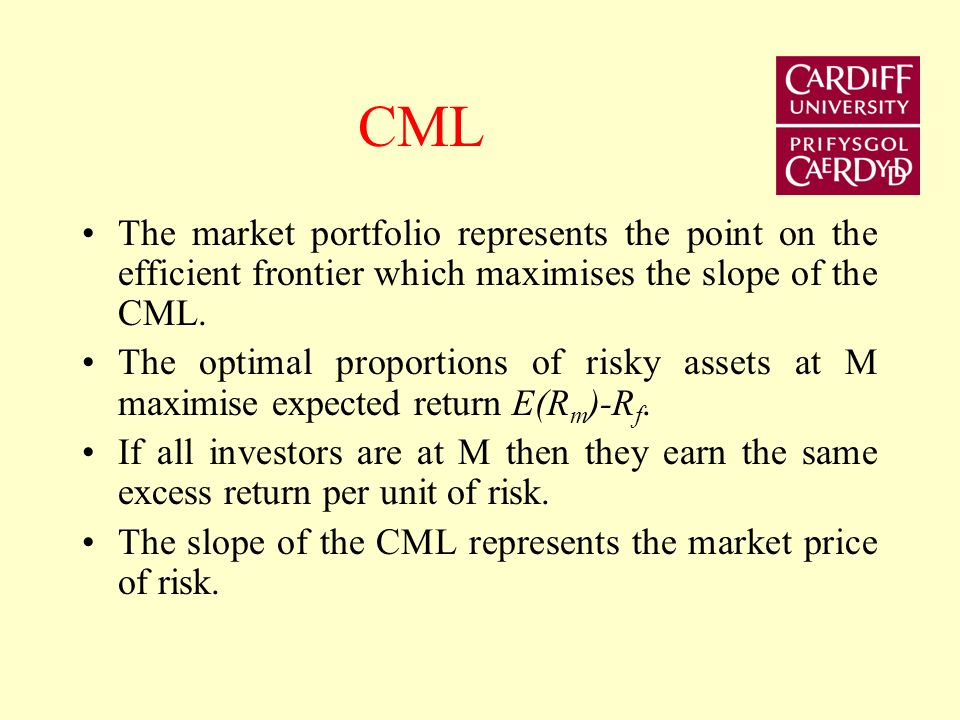 CML The market portfolio represents the point on the efficient frontier which maximises the slope of the CML.