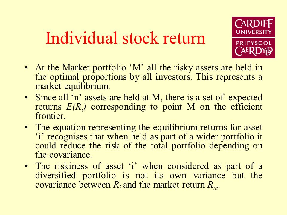 Individual stock return At the Market portfolio M all the risky assets are held in the optimal proportions by all investors.