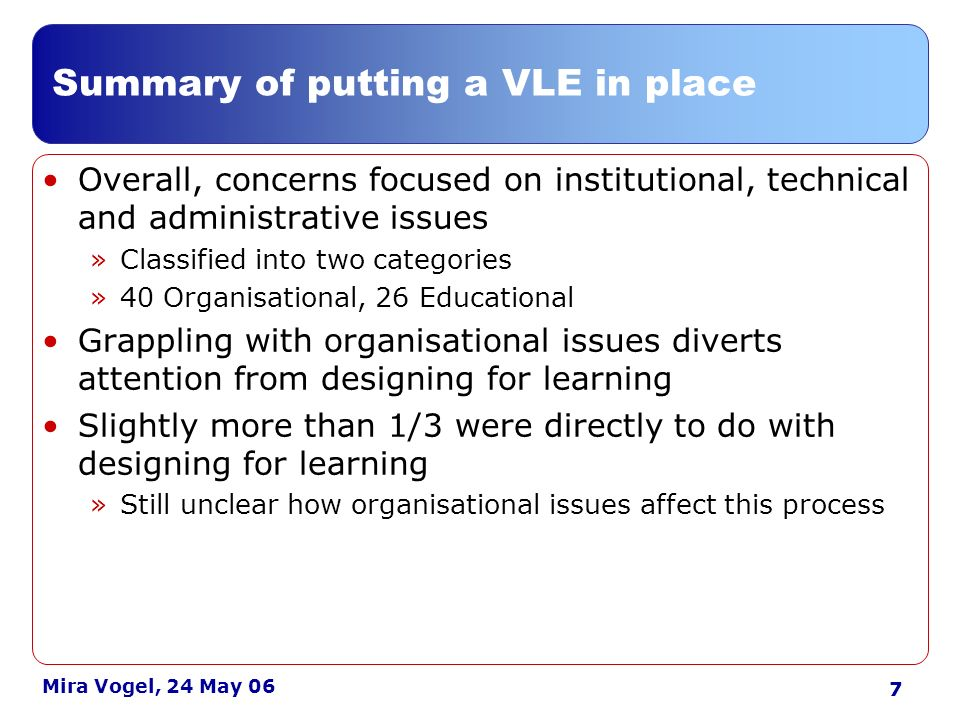 8 Mira Vogel, 24 May 06 Findings: learning technology contacts Articulating designs