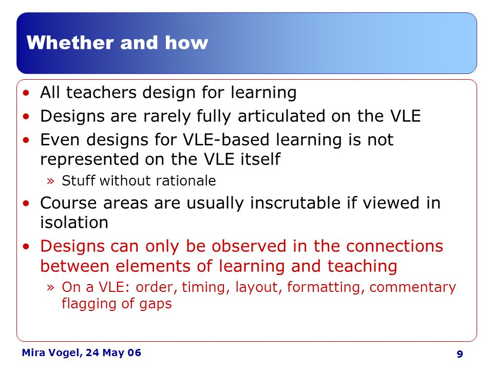 10 Mira Vogel, 24 May 06 Findings: learning technology contacts Integrating VLE and non- VLE designs