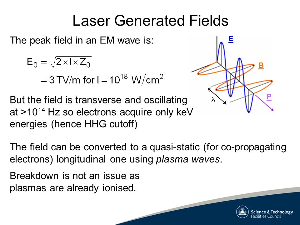 Plasma Waves Basic plasma theory predicts electron density oscillations with which is ~40 times lower than optical frequencies if the electron density, n e, is 10 18 cm -3 However laser accelerators operate in an extreme regime where basic theory can break down.