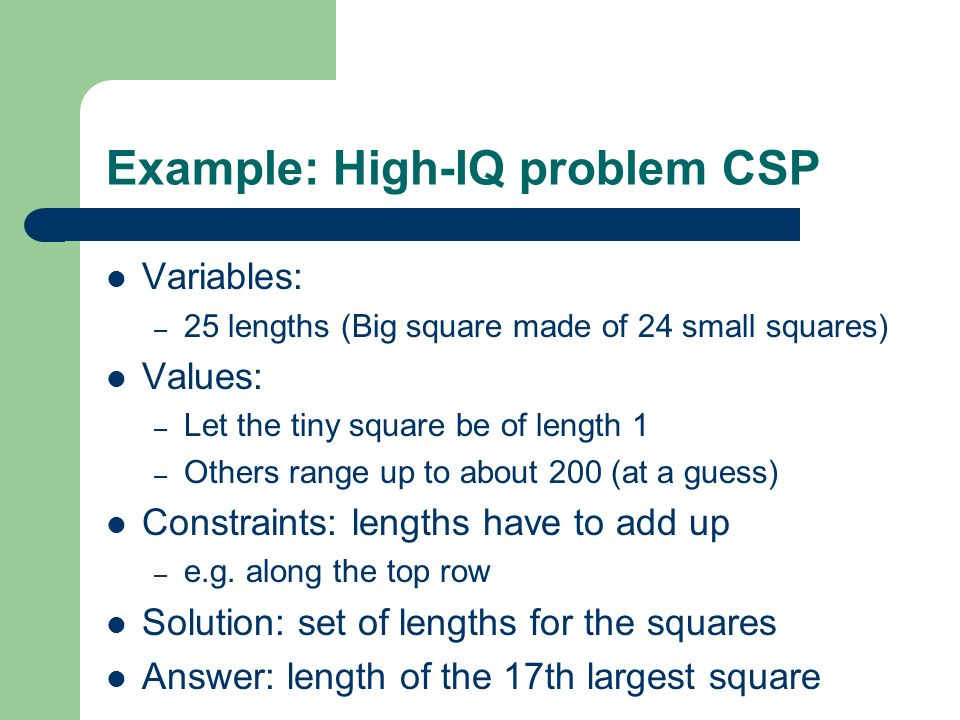What we want from CSP solvers One solution – Take the first answer produced The best solution – Based on some measure of optimality All the solutions – So we can choose one, or look at them all That no solutions exist – Existence problems (common in mathematics)