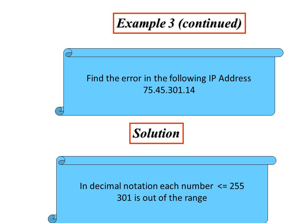 Example 4 Solution Change the following binary IP address Hexadecimal notation 10000001 00001011 00001011 11101111 0X810B0BEF or 810B0BEF16