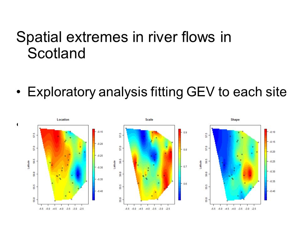 Summary estimating extremes is inherently unreliable, even with large data sets many environmental data sets are short, various distributions may be used for estimation – which ones fit best in a particular situation is difficult to assess but diagnostic tools exist data are assumed to be stationary – changing driving conditions, and long memory processes, may violate this assumption for many environmental data but there are more complex models to deal with trends, seasonality etc