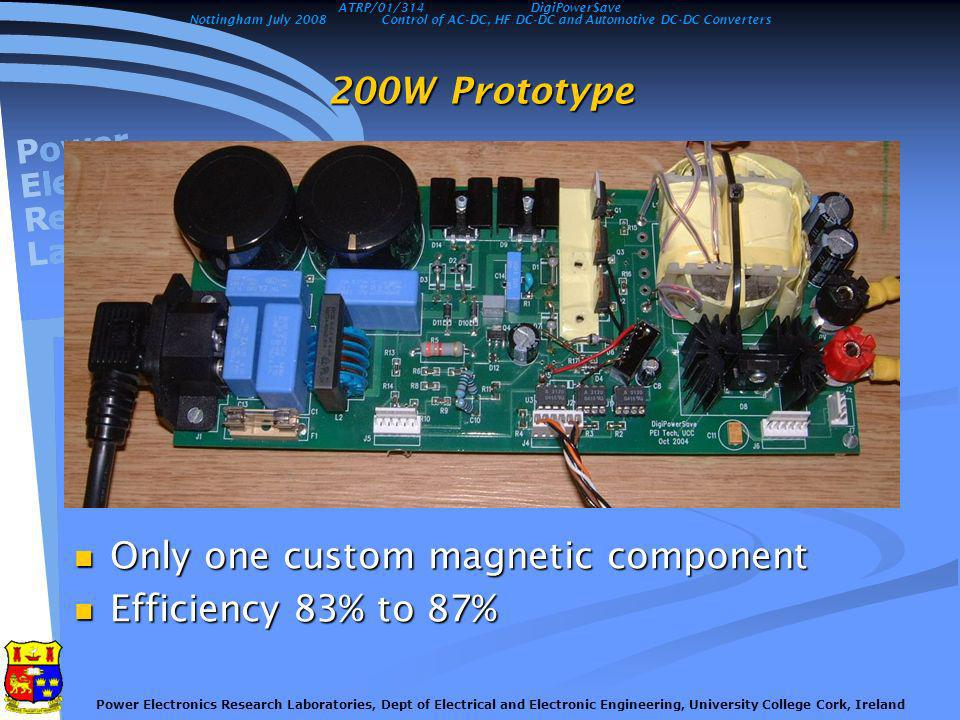 Nottingham July 2008Control of AC-DC, HF DC-DC and Automotive DC-DC Converters Power Electronics Research Laboratories, Dept of Electrical and Electronic Engineering, University College Cork, Ireland Future possibilities The digital strategies and technology developed in this project could also be applied to The digital strategies and technology developed in this project could also be applied to Power supplies with integral UPS features Power supplies with integral UPS features Integration of small scale generation with a household supply Integration of small scale generation with a household supply Solar panels Solar panels Small wind turbines Small wind turbines Micro CHP Micro CHP Integration of power supplies with building management systems Integration of power supplies with building management systems ATRP/01/314DigiPowerSave
