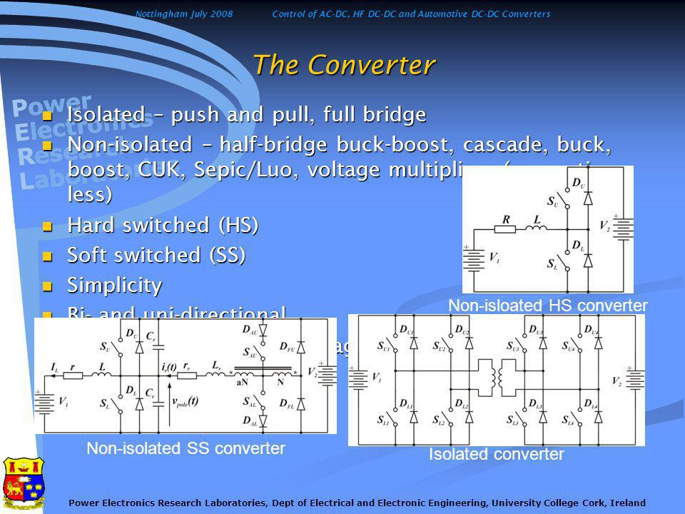 Nottingham July 2008Control of AC-DC, HF DC-DC and Automotive DC-DC Converters Power Electronics Research Laboratories, Dept of Electrical and Electronic Engineering, University College Cork, Ireland Hard and Soft Switching The Hard Switching The Soft Switching Switching losses limit the maximum operating switching frequency and may result in significant device derating.