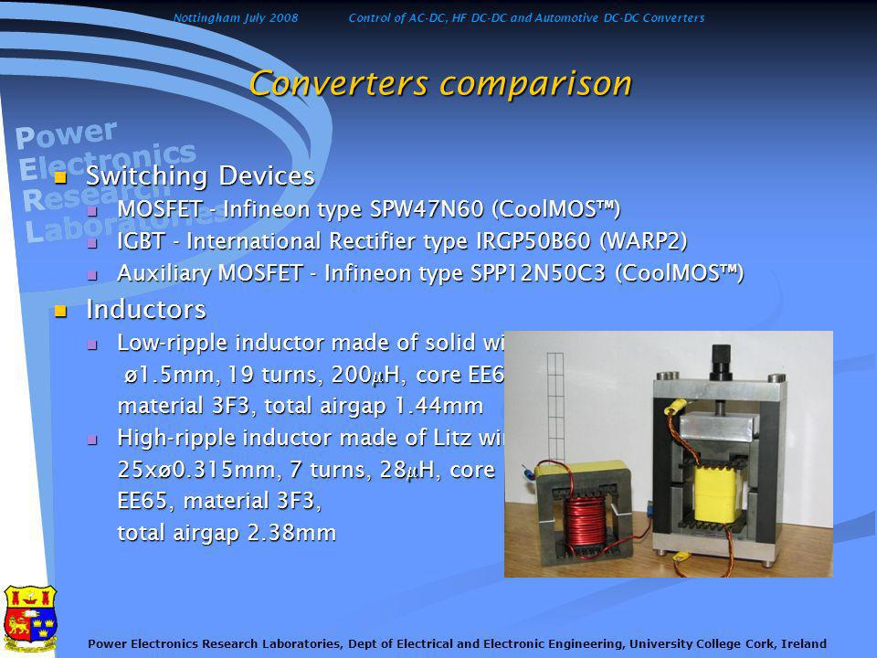 Nottingham July 2008Control of AC-DC, HF DC-DC and Automotive DC-DC Converters Power Electronics Research Laboratories, Dept of Electrical and Electronic Engineering, University College Cork, Ireland Converters comparison - results