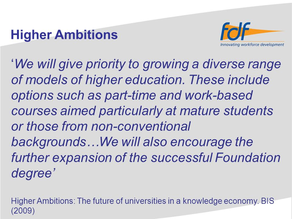 National growth in Foundation degree student numbers