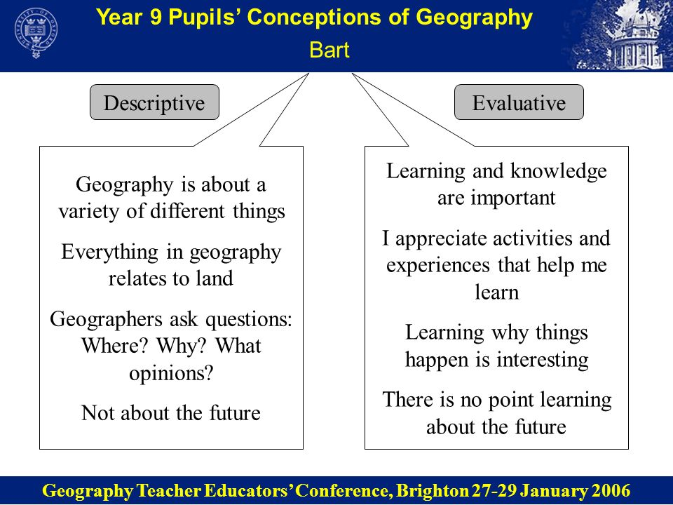 Year 9 Pupils Conceptions of Geography Lisa Descriptive Geography Teacher Educators Conference, Brighton 27-29 January 2006 Evaluative Geography is about people- environment relationships Geographers study different opinions Geography is about what might happen Geography is green and environmentally friendly I like studying how people affect the environment and I think environmental issues are important Geography is important because it helps people - with knowledge (holiday destinations), skills (map reading), and planning (futures)