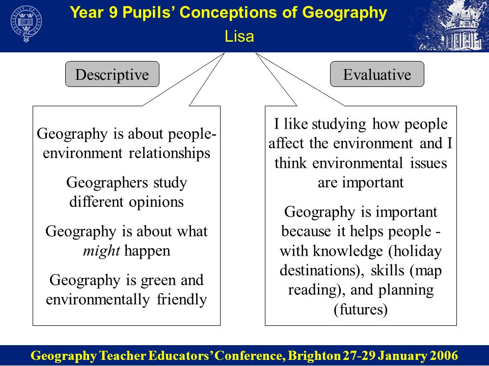 Year 9 Pupils Conceptions of Geography Population board game The task: Pupils had studied fertility and were asked to create a board game that explained either the UKs ageing population structure or Tanzanias wide-based population pyramid Geography Teacher Educators Conference, Brighton 27-29 January 2006 I liked doing the game because it made learning fun My game explains why there are so few children in the UK Learning fertility rates isnt that good because they change.