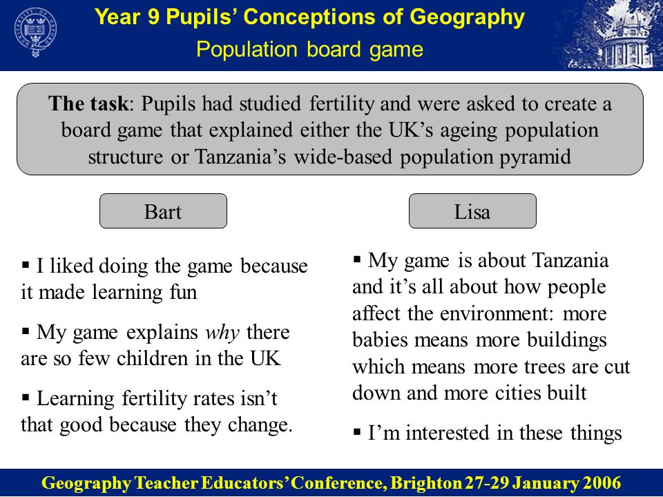 Year 9 Pupils Conceptions of Geography Migration timeline (1) The task: Pupils had studied push and pull factors which cause migration.