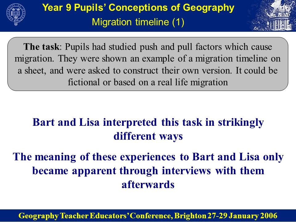 Year 9 Pupils Conceptions of Geography Migration timeline (1) Bart: I did this one because it would be more helpful if it had actually been a real event, if it had actually happened… We were doing the holocaust in history so I put that in there, it was facts from history that explained why they moved.