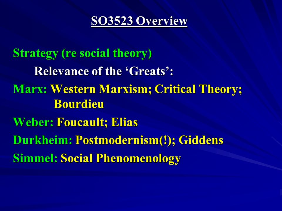 SO3523 Overview Issues (re modernity) Order and Complexity Control and Choice Persistence and Change Structure and Agency