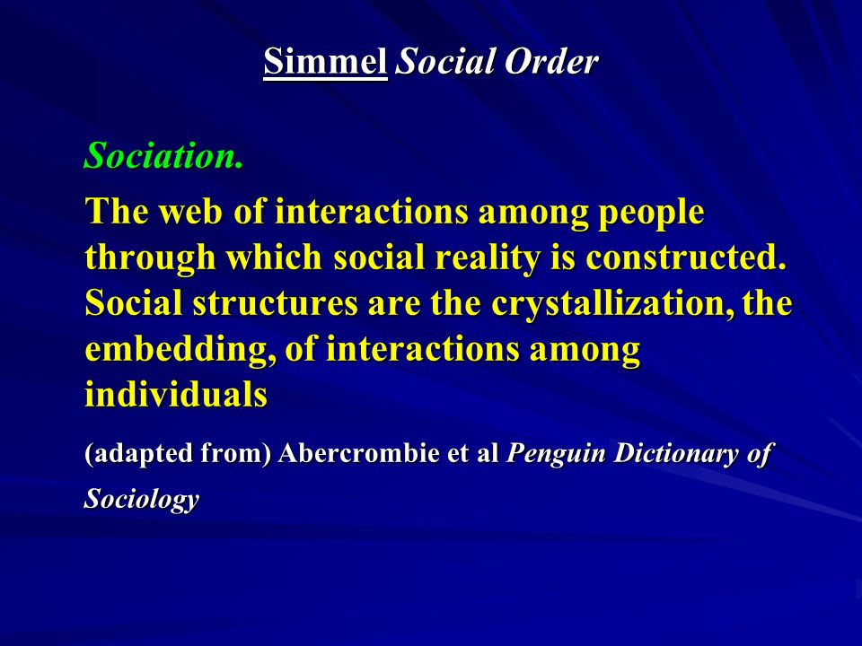 Post-Simmel: Modernity = Multiple Realities 1.Social Phenomenology - the social construction of shared narratives 2.Time and Meaning – predecessors, contemporaries and successors 3.Social Reality – objective and subjective 4.Self and Modernity - multiphrenia