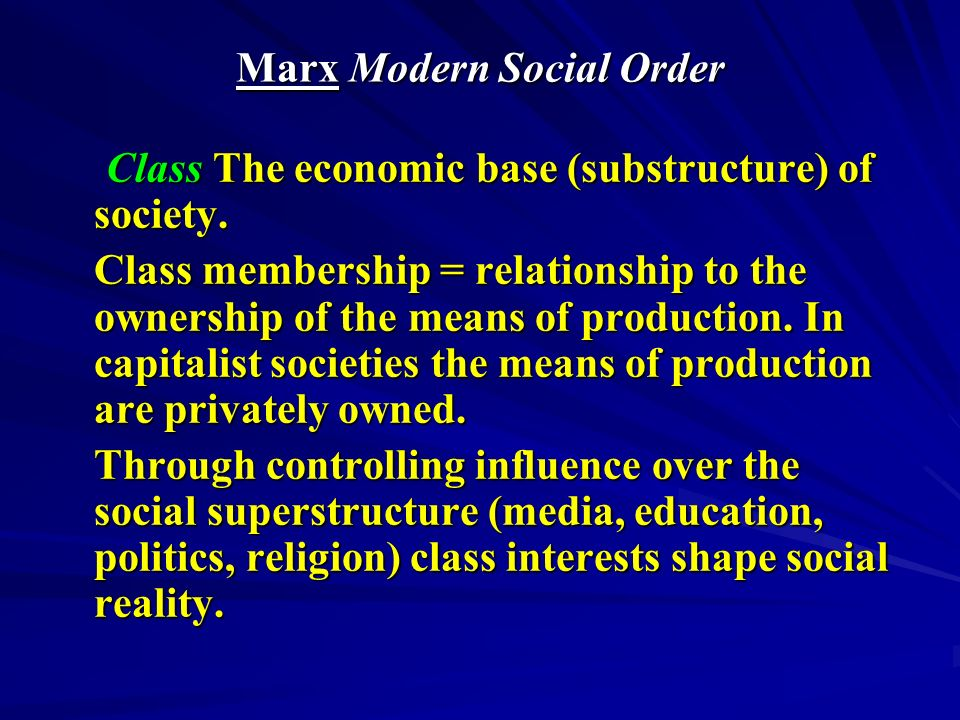 Marx Modern Social Experience Alienation The estrangement of human beings from the products of their labour, themselves and others, which is the outcome of forced labour Alienation The estrangement of human beings from the products of their labour, themselves and others, which is the outcome of forced labour