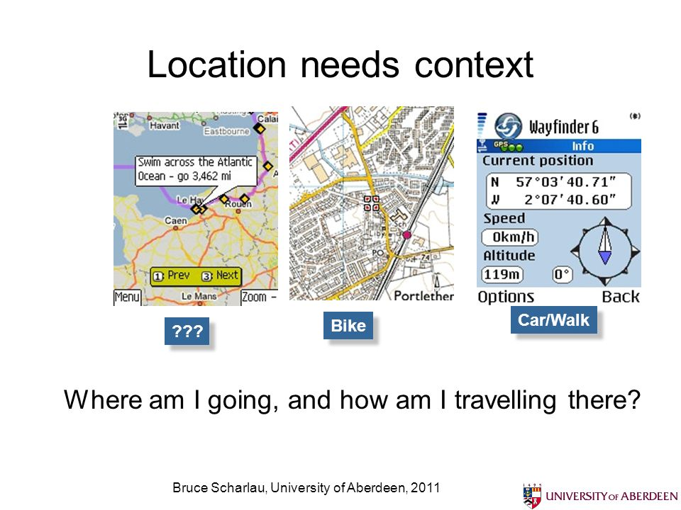 Bruce Scharlau, University of Aberdeen, 2011 LBS can be pulled by the client Pull based scenarios let the user determine the interaction: get directions, find a shop, etc
