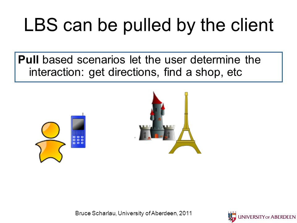 Bruce Scharlau, University of Aberdeen, 2011 LBS push and pull the client Push based scenarios let the service prompt the user: proximity based sending of adverts and coupons Special voucher for startbucks