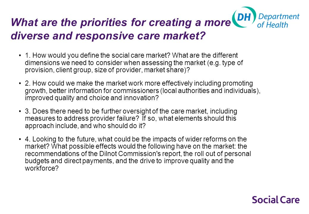 Care Markets The social care market has been operating for almost twenty years.