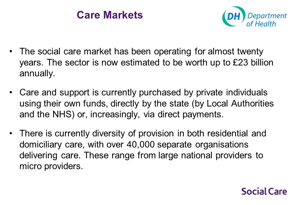 Market Oversight There are currently a number of measures to promote and protect the interests of those using adult social care services.
