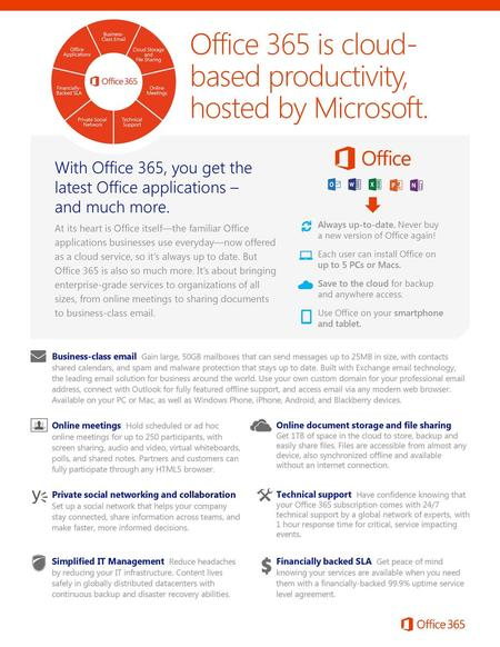 Office 365 is cloud-based productivity, hosted by Microsoft.