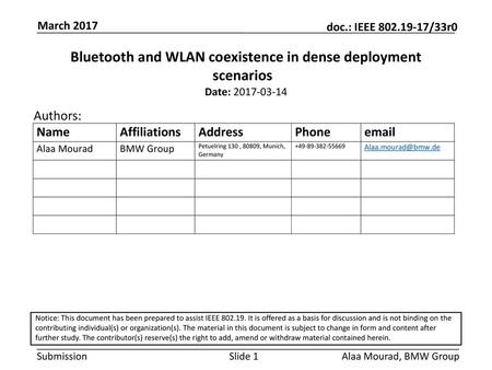 Bluetooth and WLAN coexistence in dense deployment scenarios