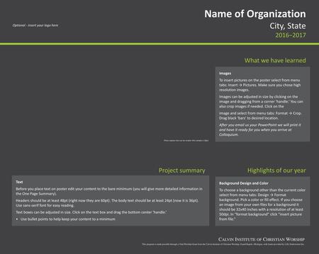 Name of Organization City, State 2016−2017 What we have learned