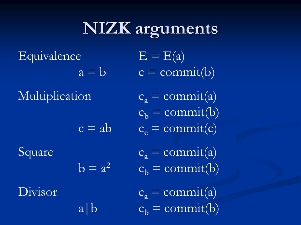 Single vote Encrypted vote E = E(M i )M = p 2, p prime NIZK argument c a = commit(p i ) Divisor NIZK (c a, commit(p L-1 ;0))a|p L-1 c b = commit(M i ) Square NIZK (c a, c b )a 2 = p 2i Equivalence NIZK (E, c b )for 0i<L
