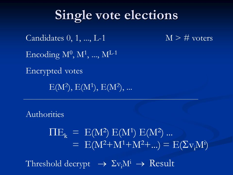Contributions Many types of elections - Single vote - Limited vote (each voter N votes) - Shareholder election (each voter N k votes) - Approval voting (each voter up to L votes) - Borda voting (preferential vote) Many types of elections - Single vote - Limited vote (each voter N votes) - Shareholder election (each voter N k votes) - Approval voting (each voter up to L votes) - Borda voting (preferential vote) Efficient NIZK arguments - random oracle model Efficient NIZK arguments - random oracle model
