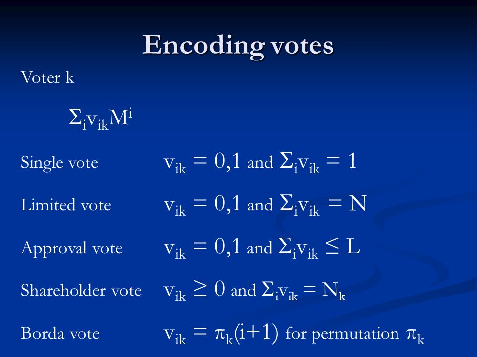 Tallying Encrypted vote E( i v ik M i ) M > # votes receivable Product k E k = k E( i v ik M i ) = E( k i v ik M i ) = E( i ( k v ik )M i ) = E( i v i M i ) Threshold decryption v i M i v i = # votes on candidate i