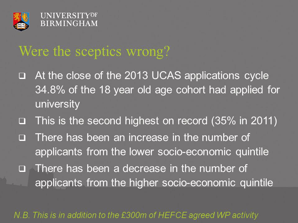 Acceptances by POLAR2 quintile (UK domiciled only, aged 19 and under 2006-2012) Source: UCAS End of Cycle report, 2012