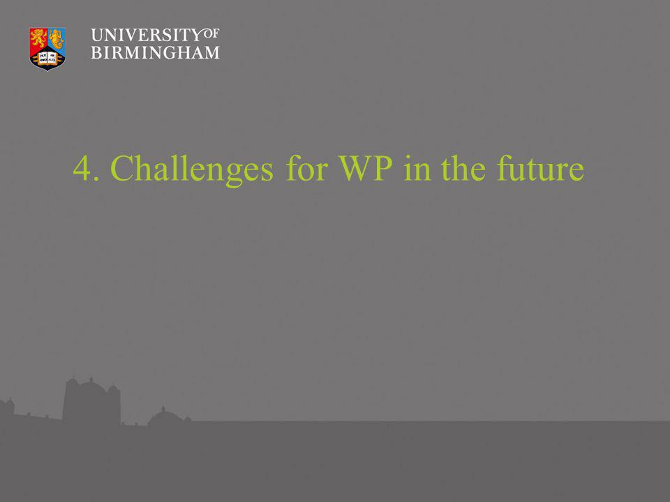 Challenges to continued progress in WP Complex student number controls Increasingly complex system for financial support Potential longer-term changes in perceptions of HE GCSE and A Level reform Tracking, evaluating and demonstrating impact of WP initiatives Increased competition in the sector – potential for less collaboration.