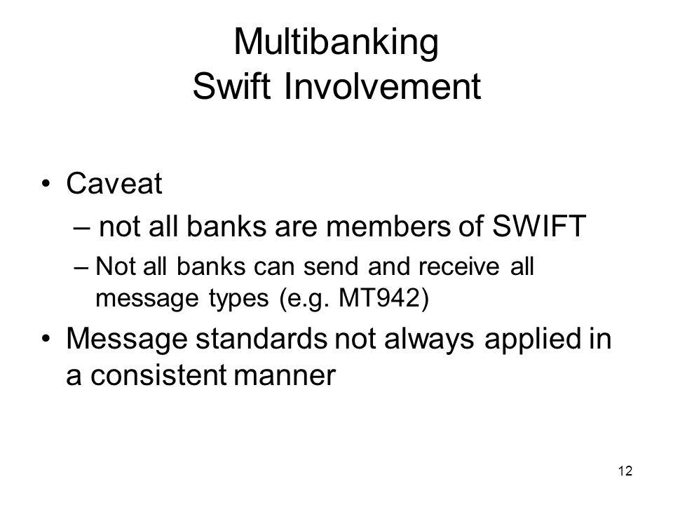 13 Multibanking Swift Involvement SWIFTNet – SWIFTS Internet Protocol based platform.