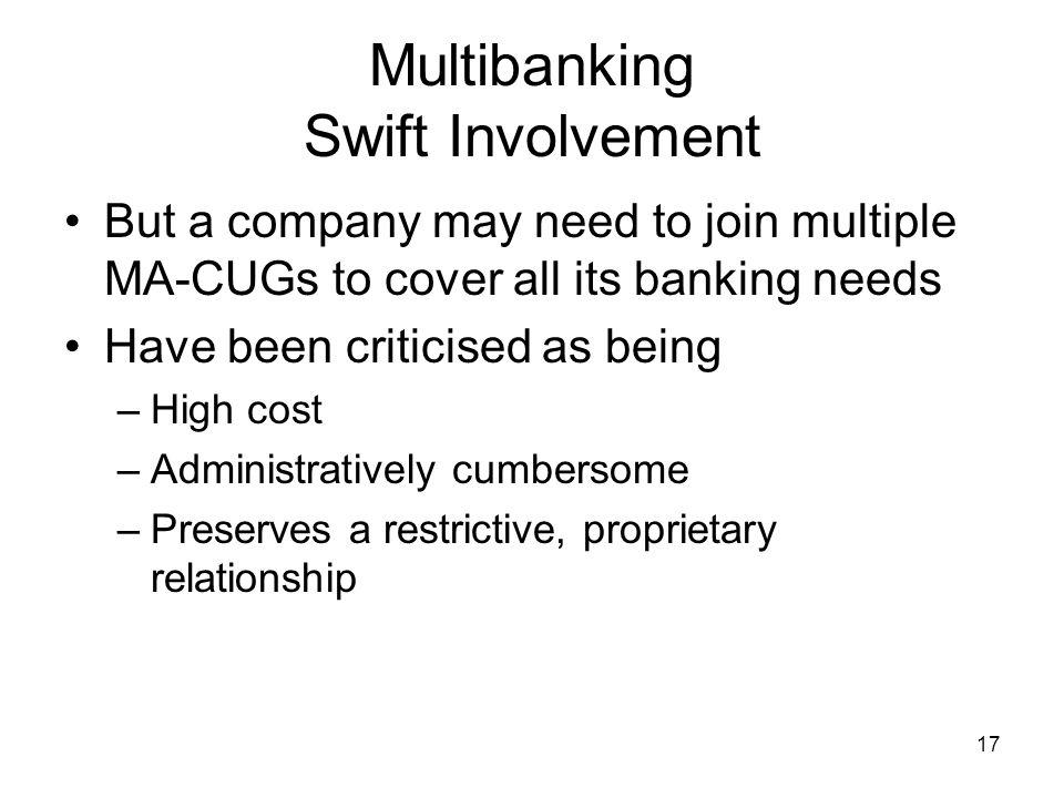 18 Multibanking Swift Involvement So SCORE, Standardised Corporate Environment Company A SWIFTNe t Bank A Bank B Bank C