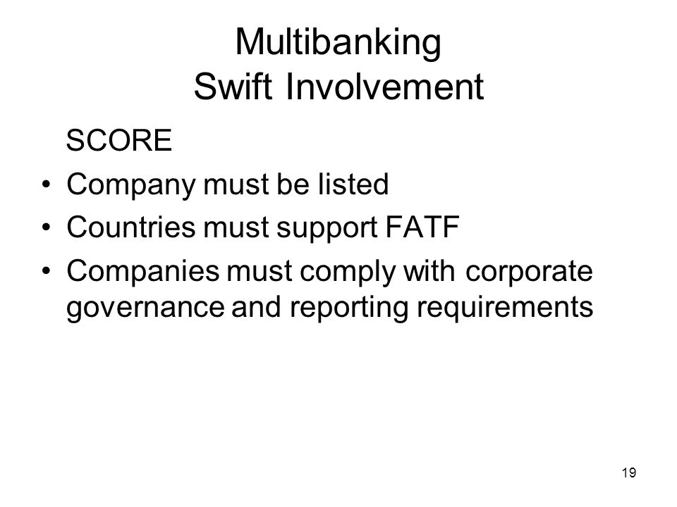20 Multibanking Swift Involvement Benefits for Corporates Co can use SWIFT secure network MA-CUG membership improves STP Rationalised infrastructure 24/7 availability SWIFTNet may be used as standard for bank communications Browsing for intra-day leads to better global liquidity management