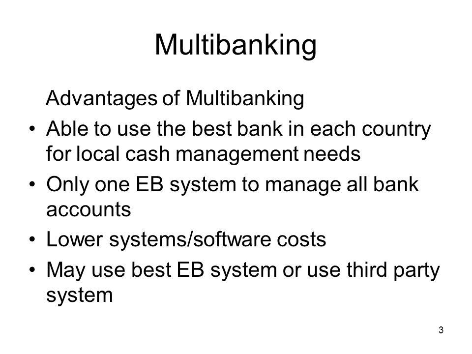 4 Multibanking Problems with multibanking - Reporting MT940 is an end of day message Normally only one transmission available per day Intra-day reporting can be difficult or impossible on a multibank basis Most banks are able to do intra-day updates internally (MT941 942) but cannot send to other banks