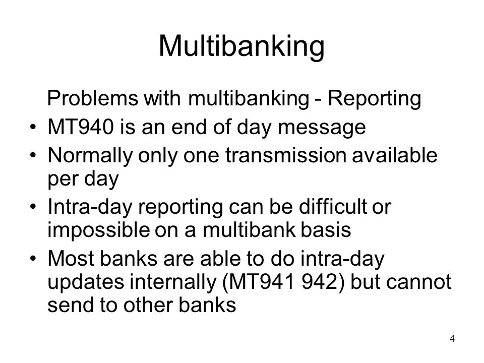5 Multibanking Reporting (cont) Bank delivering service not responsible for –Non-delivery –Late delivery –Quality of information Lack of privacy?