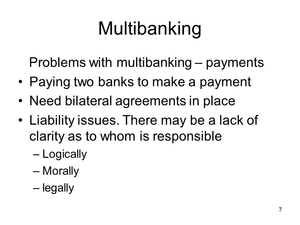 8 Multibanking Problems with multibanking - payments Standard bank to bank message (MT103) –Auto processing.