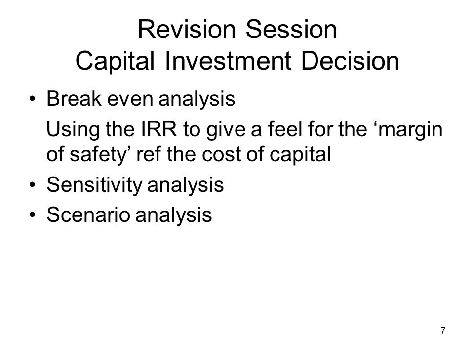 8 Revision Session Applying the NPV rule MN20211 NPV2 1.WACC - Assumes you know the financing mix 2.Adjusted NPV - Work out the present value of the tax shield 3.Free Cash Flows to Equity - Deduct payments to debt holders and discount at cost of equity