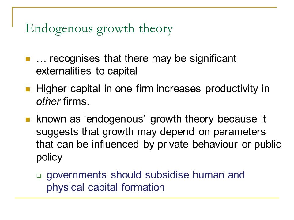 The costs of economic growth Malthus, in the 18th century, warned of limits to growth but he underestimated the potential impact of technical change The price system helps to ensure a proper use of finite resources Growth may bring costs pollution, congestion, poor quality of life But lack of growth may impose costs also The assessment of the desirable growth rate remains a normative issue