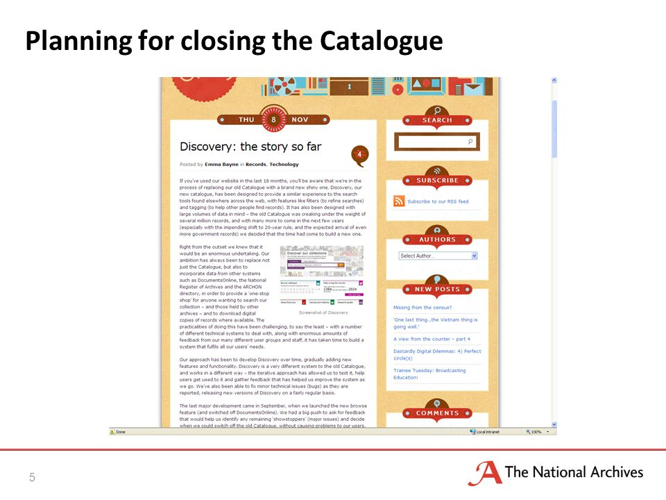 Key issues Search results o Sort in date order o Sort in catalogue order o Review relevance scores Quality of data o Prioritising activities for fixing data Structured searches o Wills & WWI army medal index cards Browse o Review amount of visible text o Review layout 6