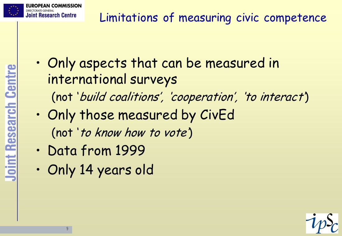 10 Civic competence & CIVED Compared lists Some uncovered: history & culture Most partially or poorly covered Removed Questions formulated to take left or right political positions removed (e.g.