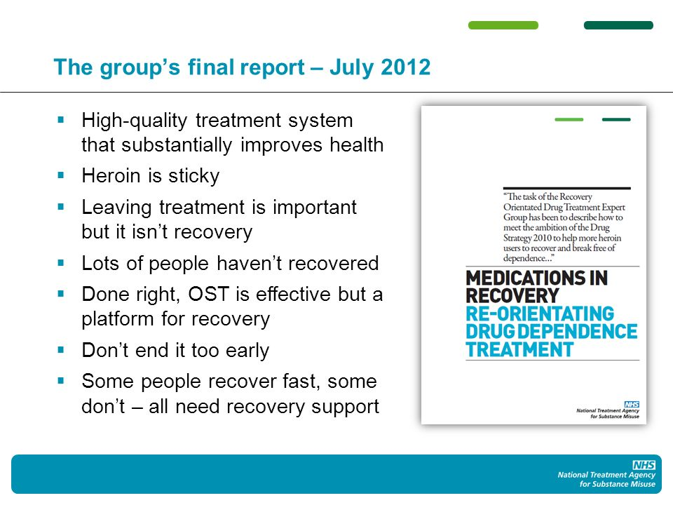 The task set for the field by the groups report Well-delivered OST provides a platform of stability and safety that protects people and creates the time and space for them to move forward in their personal recovery journeys.