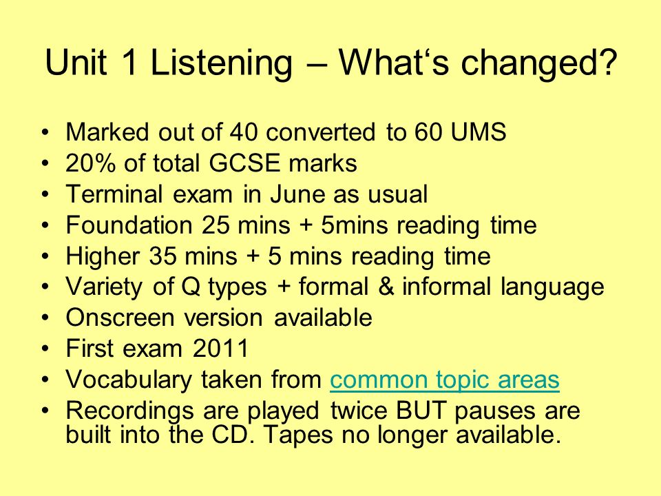 Unit 1 Listening – Whats changed.