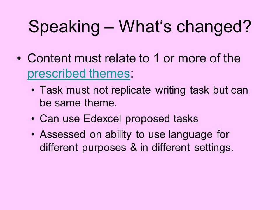 Speaking – Whats changed.