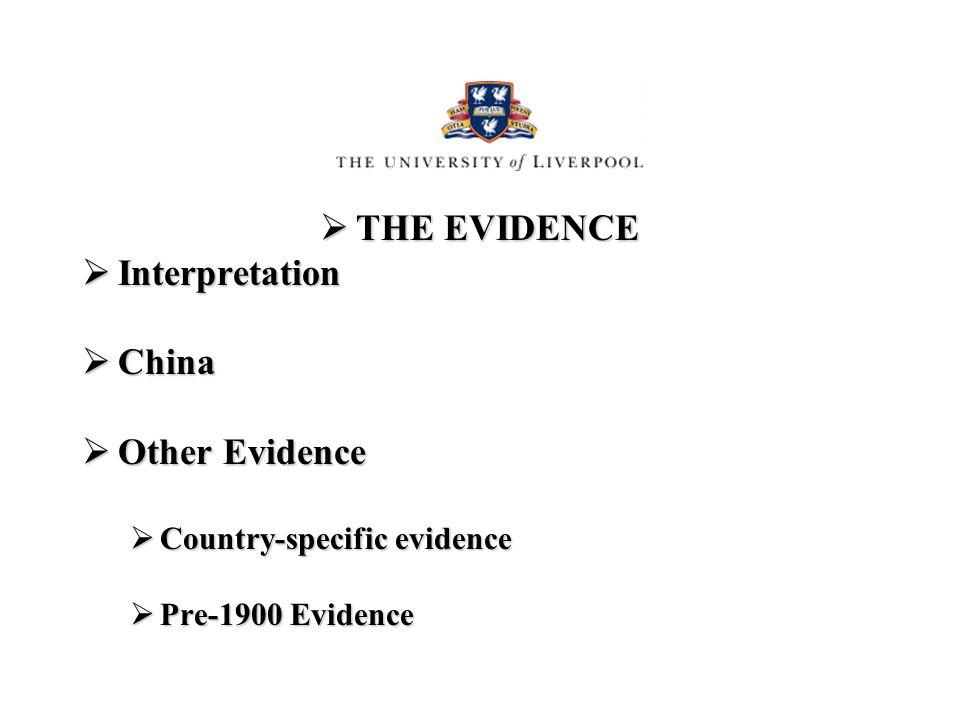THE EVIDENCE THE EVIDENCE Interpretation Interpretation China China Other Evidence Other Evidence Country-specific evidence Country-specific evidence Pre-1900 Evidence Pre-1900 Evidence