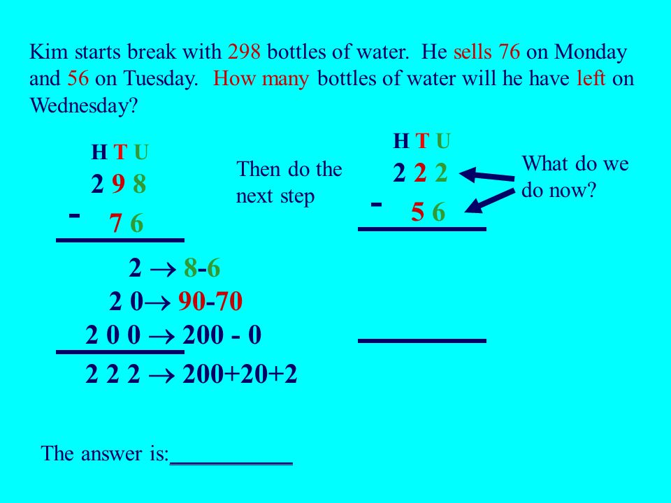 Now solve these word problems.Dont forget to use the column method to show your working out.