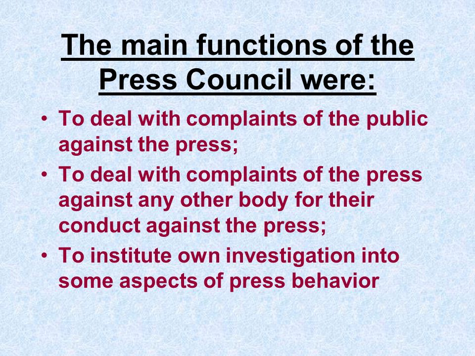 Some reforms were carried out: The name of Council is changed: Press Complaints Commission The amount of its members is reduced (16 mans – 9 editors and 6 members of the public coming + chairperson)