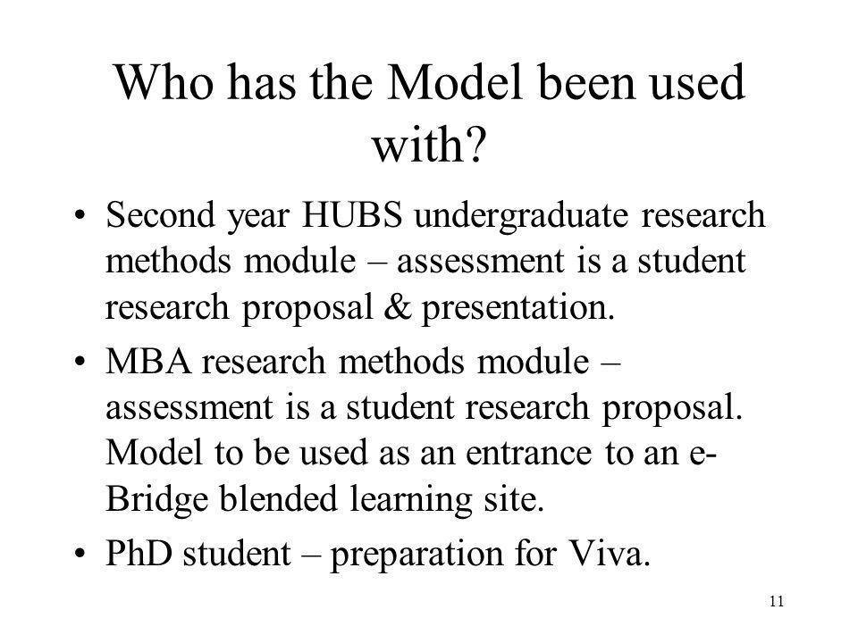 Assessing Quality/Validity of Students Proposals Kolbs Theory of Learning Development -Not so widely known -Three levels: Acquisition Level = Basic knowledge of component.