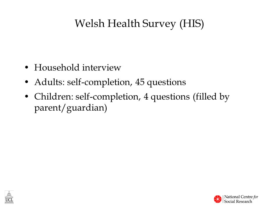 Adult self-completion (Wales) Health service use Use of medicines General health, GHQ12 Smoking, drinking Fruit and vegetable consumption Physical activity Carers Demographics Self-reported height and weight